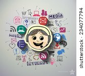 mobile media collage with icons ... | Shutterstock .eps vector #234077794