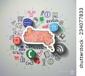 web commerce collage with icons ... | Shutterstock .eps vector #234077833