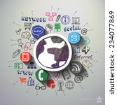 social media collage with icons ... | Shutterstock .eps vector #234077869