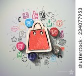 Shopping Collage With Icons...