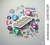 medicine collage with icons... | Shutterstock .eps vector #234078109
