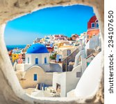 santorini blue dome church look ... | Shutterstock . vector #234107650