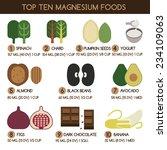 top ten magnesium foods vector | Shutterstock .eps vector #234109063