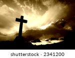 Christian Cross Silhouette And...