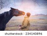 Horse And Man At Dawn Sunlight...