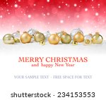 golden baubles on snow with red ... | Shutterstock . vector #234153553
