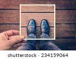 selfie of foot and legs with... | Shutterstock . vector #234159064
