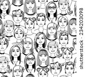cartoon women faces crowd... | Shutterstock .eps vector #234203098