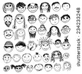 stick figure faces. vector | Shutterstock .eps vector #234233248