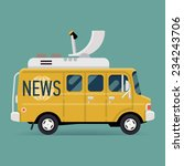 Vector modern flat design special vehicle icon on news van | Live news wagon symbol