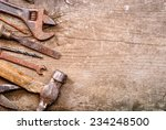 Dirty Set Of Hand Tools On A...