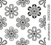 floral doodling seamless... | Shutterstock .eps vector #234252130