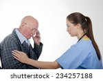 caring nurse with elderly... | Shutterstock . vector #234257188
