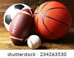 sports balls on wooden... | Shutterstock . vector #234263530