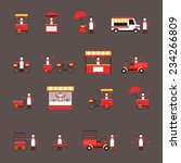 Street Fast Food Icon Flat Set...