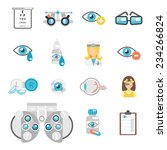 Oculist Flat Icons Set With Ey...