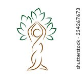 Yoga Emblem With Abstract Tree...