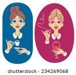 two colored vintage portraits   ... | Shutterstock .eps vector #234269068