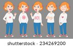 cartoon style red haired girl... | Shutterstock .eps vector #234269200
