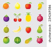 mixed fruits icons sticker style   Shutterstock .eps vector #234269386