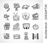 cinema icons hand drawn set... | Shutterstock .eps vector #234269734