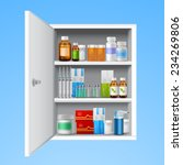 medicine cabinet with tablets... | Shutterstock .eps vector #234269806