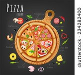 pizza on the board and the... | Shutterstock .eps vector #234282400