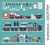 set of kitchen utensils and...   Shutterstock .eps vector #234297949