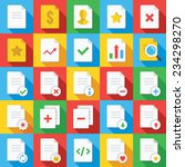 vector flat icons set with long ...