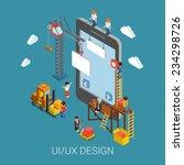 flat 3d isometric mobile ui ux...