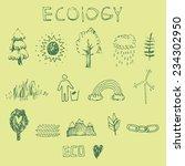 ecology doodle set | Shutterstock .eps vector #234302950