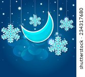 cartoon snowflakes and moon in...   Shutterstock .eps vector #234317680