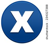 big blue x button isolated on...