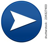 big blue arrow button isolated...