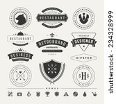 Stock vector retro vintage insignias or logotypes set vector design elements business signs logos identity 234328999