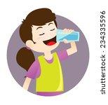 girl drinking water | Shutterstock .eps vector #234335596