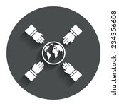 hands reach for earth sign icon....
