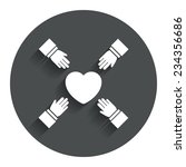 hands reach for heart sign icon....