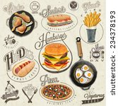 retro vintage style fast food... | Shutterstock .eps vector #234378193