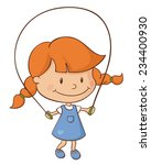 little girl skipping. | Shutterstock .eps vector #234400930