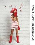 little fashion girl in fashion... | Shutterstock . vector #234417523