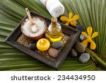 health spa on green leaf... | Shutterstock . vector #234434950