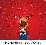 reindeer holding giftbox easy... | Shutterstock .eps vector #234437458