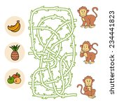 maze game  monkeys and food  | Shutterstock .eps vector #234441823