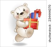 smiling bear comes with a gift... | Shutterstock .eps vector #234444070