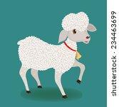 Cute Lamb On Turquoise...