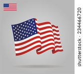flat and waving american flag.... | Shutterstock . vector #234466720