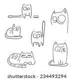 set of sketch cartoon cats...   Shutterstock .eps vector #234493294