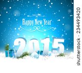 new year 2015   blue greeting... | Shutterstock .eps vector #234493420