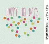 happy holidays doodle card | Shutterstock .eps vector #234494548